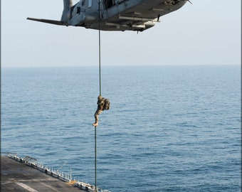 16x24 Poster; Italian Marines Fast Rope From Eh101 Onto Uss Boxer Lhd 4 In 2013