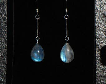 Rainbow moonstone earrings, blue flash moonstone earrings, sterling silver