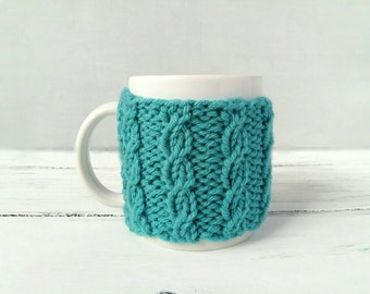 Blue Coffee Mug Cozy – Coffee Cup Cozy – Mug Warmer – Hygge Gift for Her - Cup Warmer – Coffee Mug Holder – Teal Cozy – Cable Knit Cozy