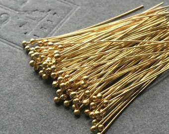 "Gold Vermeil 24K Headpins 28 gauge 2"" Long Package of 25 Pieces"