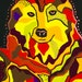 Multicolor Wolf Portrait Painting, Red & Yellow Wolf Painting, Wolf Gouache Painting, Mexican Red Wolf Gouache Painting