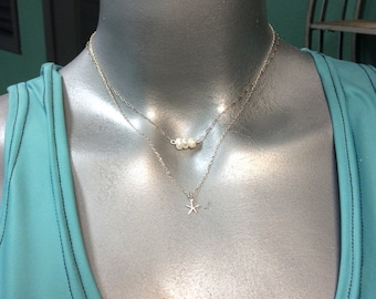 Perfect layering necklace; sterling silver chain, freshwater pearl and sterling star fish