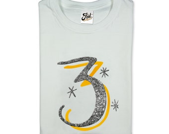 3rd Birthday Shirt- Child's 3 T-Shirt- Kids Magic No.3 Tee- three for girls. The Monroe font number shirt.
