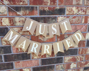 Rustic just married banner, shabby chic wedding banner, just married car sign, vintage wedding, wedding garland, reception backdrop,
