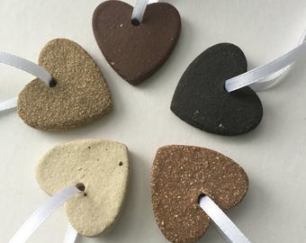 Ceramic clay heart decorations: unique handmade mini hanging heart decorations, wedding gift, 9th wedding anniversary, special gift
