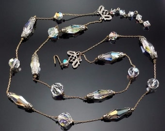 Vintage Crystal Station Necklace on Gold Chain AB Stones Unique Rare Jewelry