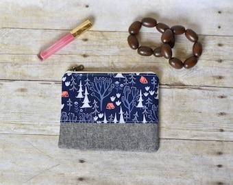 Blue forest zipper pouch - Zipper pouch - small pouch - blue winter pouch -  blue linen pouch - gifts for her - makeup bag - small wallet