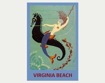 Virginia Beach Sticker - Mermaid Decal - Virginia Beach Decal - Art Deco Decal - Car Decal - Mermaid Sticker - Vintage Style Decal - S210