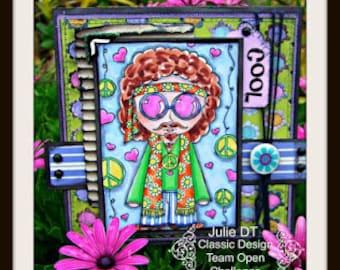 Digital stamp colouring image - Sketchy hippy boy + freebie. jpeg / png