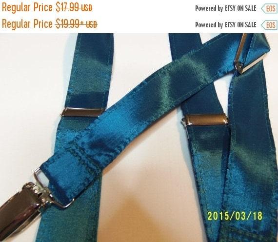 "Winter Sale Sale CLEARANCE  ""Teal Blue"" Taffeta Suspenders    Childrens 32"""