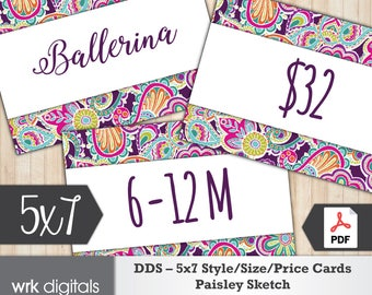 Dot Dot Smile Style Cards 5x7 Signs, Size Card, Price Sign, Fashion Consultant, Paisley Sketch Design, PRINTABLE, INSTANT DOWNLOAD