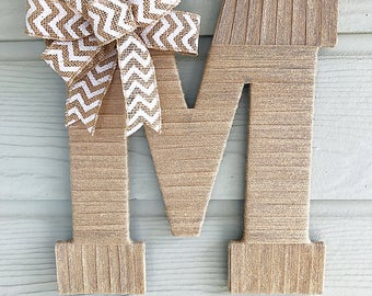 Front Door Decor, Burlap Letter, Fall Decorations, Real Estate Gift, Initial for Door, Initial Decor, Decorative Letters