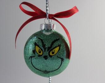 Grinch Ornament; Christmas Ornament; Green glitter ornament