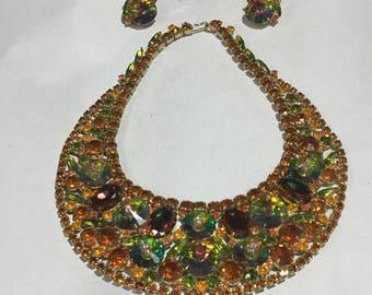 Juliana D&E Watermelon Rivoli Rhinestone Bib Collar Necklace Earring Bracelet