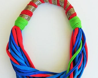 unique necklaces for her, colorful bib necklace, statement necklace, Indian style, textile jewelry, tribal necklace, handmade Christmas gift