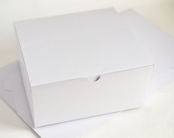 Paper Boxes, 10 Party Favor Boxes, Large Wedding Boxes, Wedding Gift Boxes, Christmas Gift Boxes, Favour Boxes, White Box for Gifts 8x8x3.5""