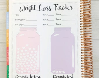 Kawaii Weight Loss Tracker Sticker (Jumbo) - with sheet of heart stickers