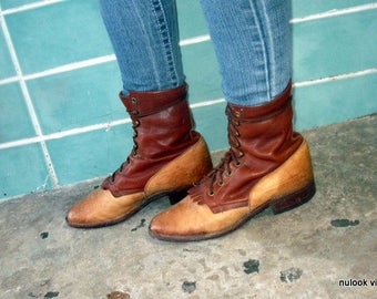 sz 8.5 D vintage LARRY MAHAN two tone brown leather  lace up boots