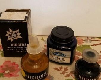 Vintage  lot of 3 bottles of assorted ink higgins & carter's vc7