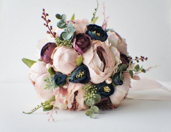 Peony bridal bouquet silk wedding flowers blush wedding for Bouquet chic
