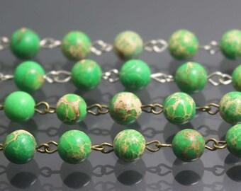 3 feet Green Sea Sediment Jasper bead Chain Link with a chains,6mm 8mm,Green Sea Sediment Jasper beads