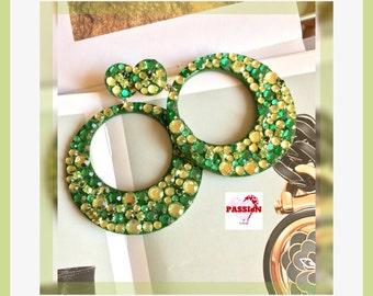 GREEN hoop EARRINGS, light green hoop earrings, rhinestone hoop earrings, fashionb large hoop earrings, bridesmaid earrings, bling earrings