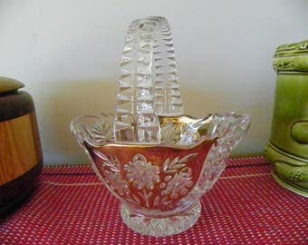 Clear Glass Basket With Gold Color Sides, Floral And Star Design