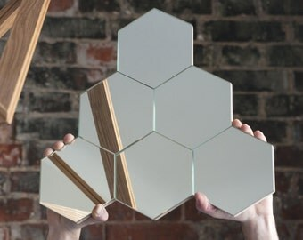 Geometrical Minimlistic Wall Mirrors Collection of Different Hexagonal Shapes and Formes
