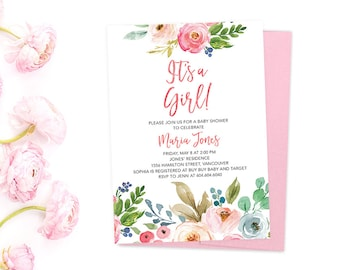 It's a Girl Baby Shower Invitation, Girl Baby Shower Invitation, Floral Baby Girl Shower Invitation, Watercolor Baby Shower Invitation