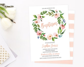 Printable Baptism Invitation, Girl Floral Baptism Invitation, Christening Invitation, 1st Holly Communion, Dedication, First Communion