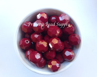 20mm Maroon Faceted Chunky Beads Set of 10, 20mm Maroon Beads, Maroon Hexagon Bubble Gum Beads, Gumball Beads, Acrylic Beads