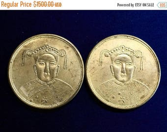 Pair of Szechuen Province Qing Dynasty Empress Dowager Cixi 70 years cerebration 1895 (四川省造光绪元宝慈禧七十大寿)Chinese silver dragon coin