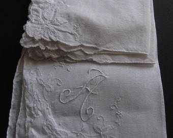 """Lot (2)  Cutter Hankies Pretty White Floral and Letter """"H"""" Vintage  Shabby Chic Estate Sale 1950's"""
