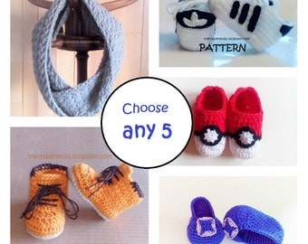 Discount of crochet PDF patterns by buying a pack of 5 tutorials. Crochet Patterns Sale. Promotion.
