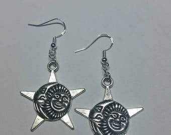 Sun earrings, sun pendants, sun beads, moon earrings,  moon pendants, moon beads, sterling silver earrings