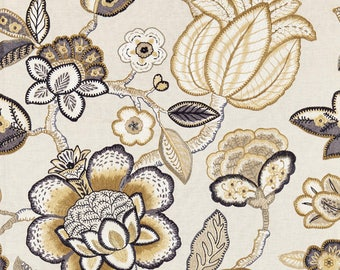 SCALAMANDRE COROMANDEL EMBROIDERY Jacobean Linen Fabric 10 Yards Flax Multi
