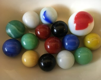 Glass Marbles Set of 15 Old Opaque, Milk Glass and Jadeite