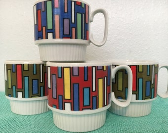 Vintage Stacking Mugs Geometric Design Large Size Made by B.P. Japan Set of 4