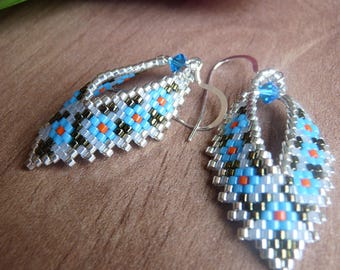 Russian Leaf Earrings with Swarovski crystal dangle earring