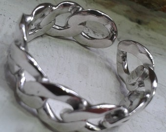 925% Silver band ring men s curb link chain, adjustable