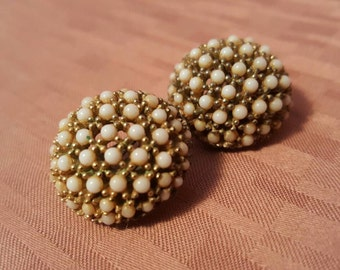 Beautiful 60's CINERA Pave Dome Pearl Earrings!