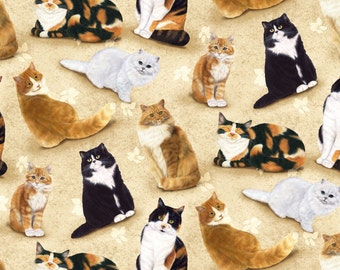 Feline Fine Cats Allover on Light Tan Quilting Fabric - Fat Quarter or Yardage