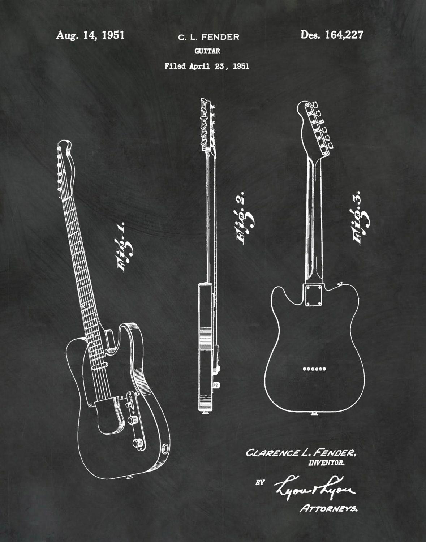 1951 Fender Telecaster Guitar Patent Print - Designer Clarence ...