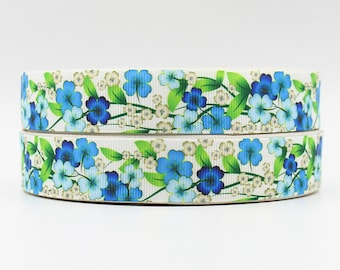 7/8 inch - Flowers Floral Blue tones on Cream Background - Printed Grosgrain Ribbon for hair bow