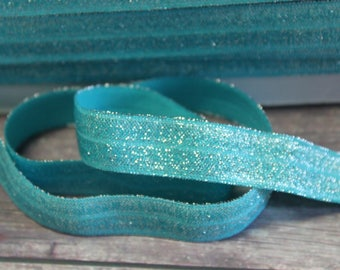 "5/8"" Light Teal Aquamarine Metallic Shimmery Shiny Sparkle DIY Headband Supplies Fold Over Elastic FOE Per Yard"