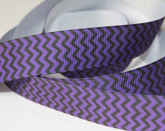 "7/8"" inch Black and Purple CHEVRON - Pattern -  Printed Grosgrain Ribbon for Hair Bow TheFabFind"