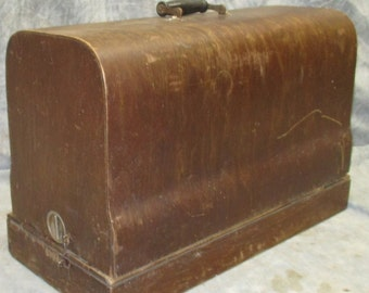 Franklin Sewing Machine Carry Case Only Bent Wood Dome Top Coffin Cover Vintage
