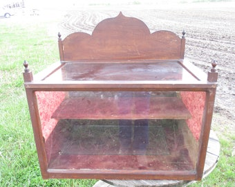 Wooden Showcase Display Case Country Store Countertop Victorian Velvet Vintage