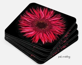 Scarlet Red Gerbera Daisy Coaster Set | Hostess Gifts