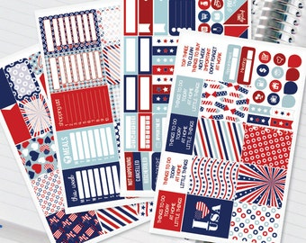 4th of July Summer Planner Stickers Weekly Kit for Erin Condren Recollections & Happy Planner - 134 Stickers (#12,020)